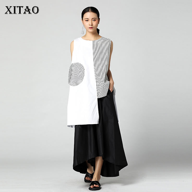 XITAO Irregular Strep Splice Women   Tank     Top   Casual Hit Color O Neck Sleeveless Womens Clothing Korean Style Summer New KZH1981