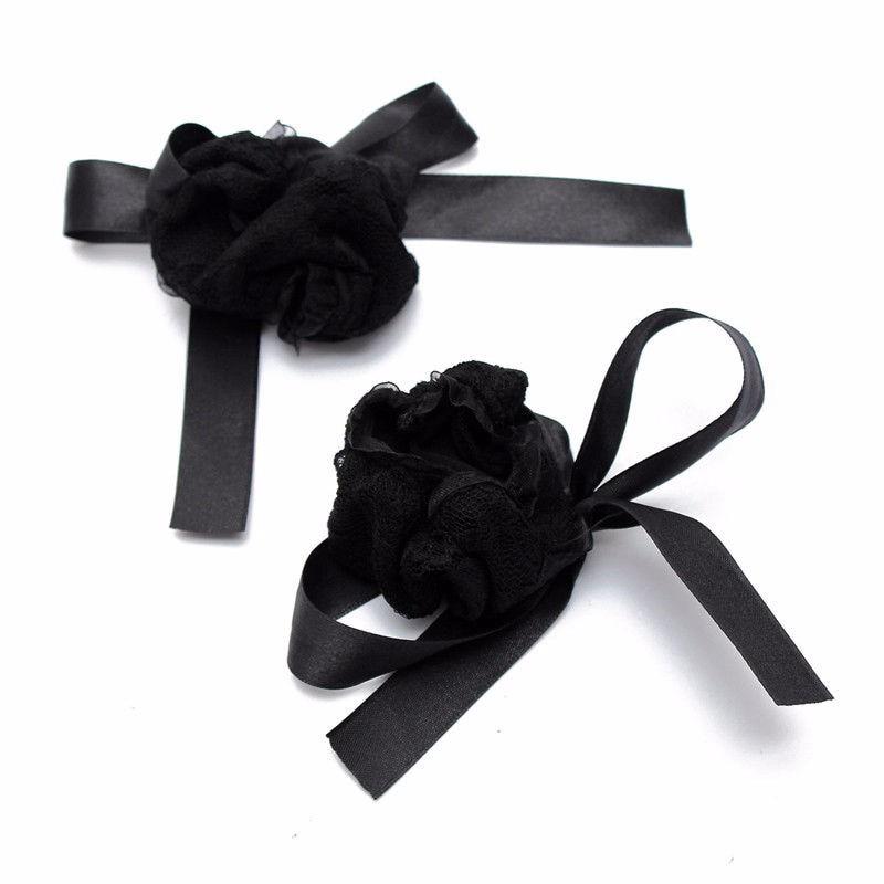 cee5aea80 1 Set lot Silk Black Lace Sexy Handcuffs Blindfold Wrist Cuffs ...