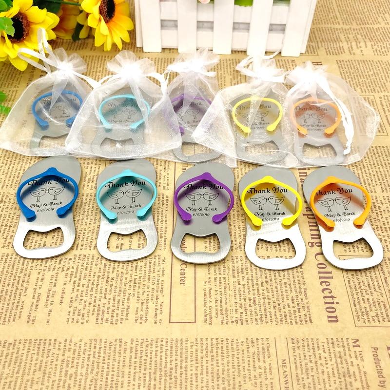 50pcs lot FREE SHIPPING Customized Wedding Favors Flip Flop Bottle Opener Printing LOGO Mix Colors