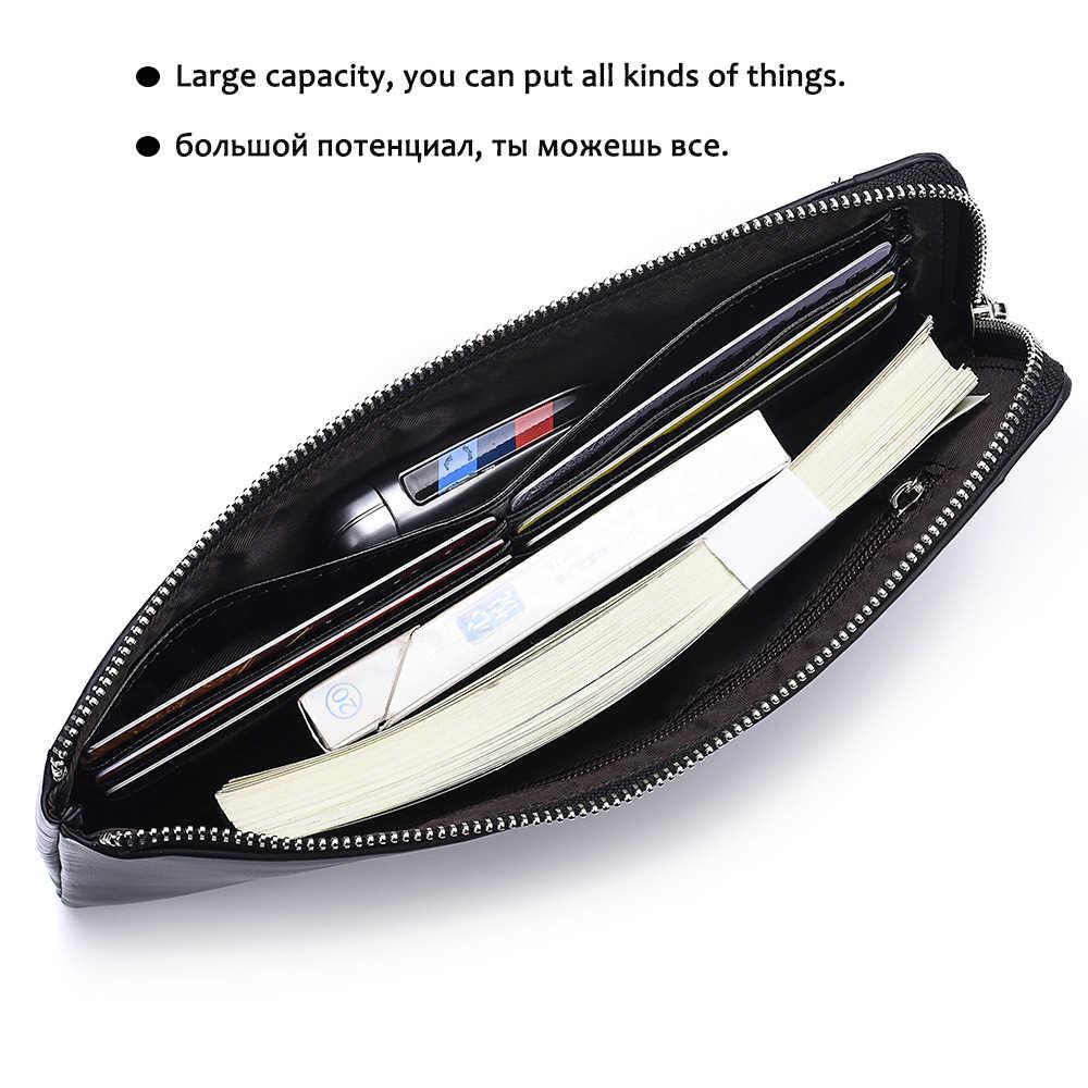 DWTS мужские кошельки, держатель для карт, кожаный мужской кошелек, роскошный длинный дизайн, качественная Обложка для паспорта, Модный повседневный мужской кошелек на молнии