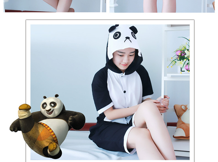 Chinese panda pajamas Cosplay Summer new cartoon one-piece pajamas Pikachu cotton short-sleeved couple men and women suit
