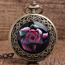 Vintage Rose Flower Carving Arabiske Taller Black Dial Quartz Lommeur Med Anheng Halskjede Chain Women Lady Girls Gifts