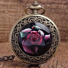Vintage Rose Flower Carving Arabiska siffror Svart Dial Quartz Fickur Med Hängsmycke Halsband Kedja Women Lady Girls Gifts