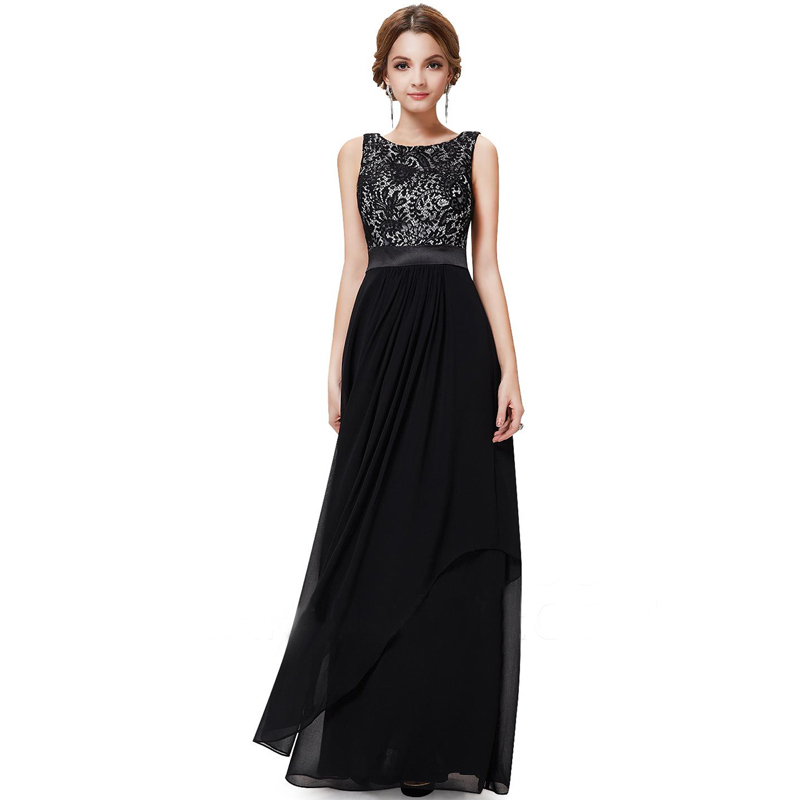 Elegant Fashion Long Evening Dresses With O Neck Lace Black Chiffon Dinner Dress For Formal ...
