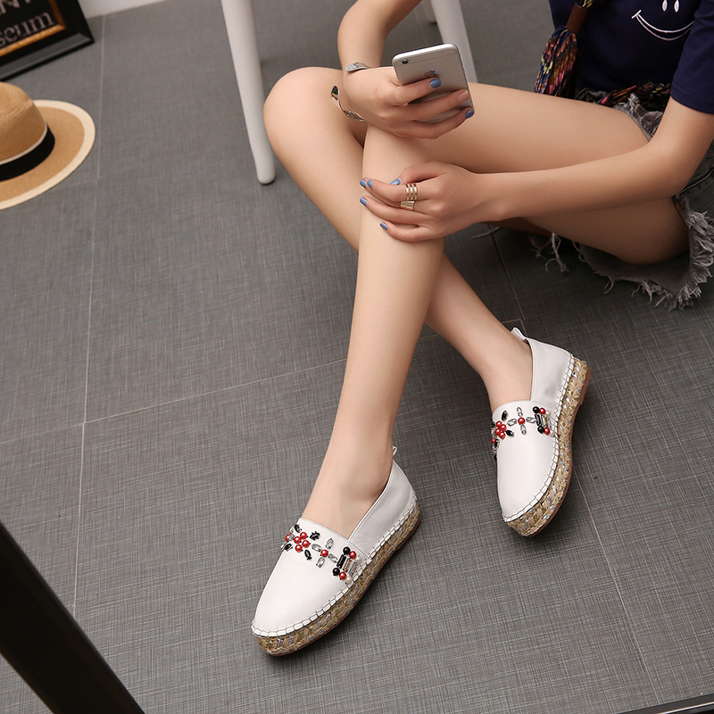 ФОТО New Handmade Crystal Fisherman Flat Shoes Women Spring Flat Loafers Weaving Cow Leather Girl Lady Walking Driving Shoes Size 43