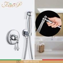 FAOP Bidet Armaturen messing bidet mixer muslimischen dusche anal reinigung anal wasserhahn bidet dusche messing bidet wc anal stecker