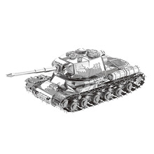 Nanyuan 3D Metal Puzzle JS-2 tank Military weapons Model DIY Laser Cut Assemble Jigsaw Toys Desktop decoration GIFT For Audit mu 3d metal puzzle siege tank joint movable model diy 3d laser cut assemble jigsaw toys desktop decoration gift for audit