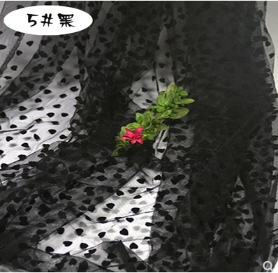 Free shipping   Flocking love Flexible  yarn fabric curtain render unlined upper garment skirt   fabric 2meter
