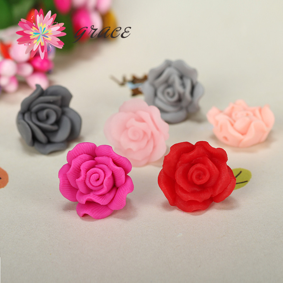 EXQUISITE FIMO CLAY PINK AND WHITE ROSE FLOWERS ROSES BEADS FAST FREE SHIPPING