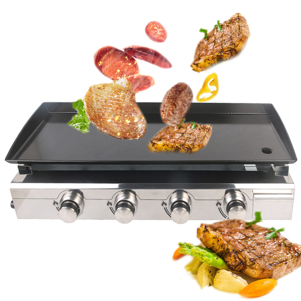 Hot Selling Gas BBQ Grill 4 burners LPG Griddle Plancha Iron Hot Plate Outdoor Barbecue Tools