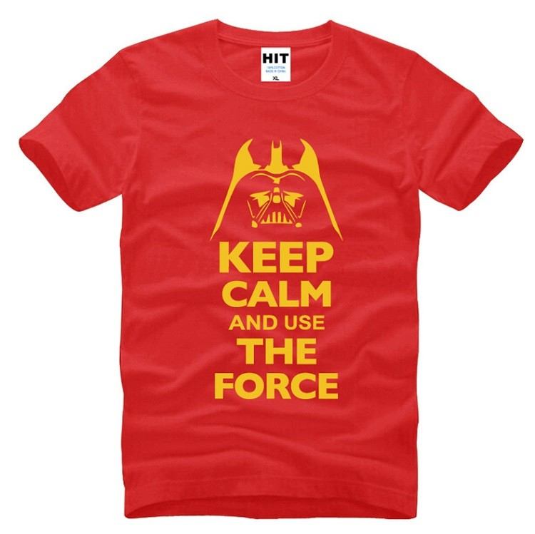 red color keep calm and use the force starwars tshirt with yellow slogan