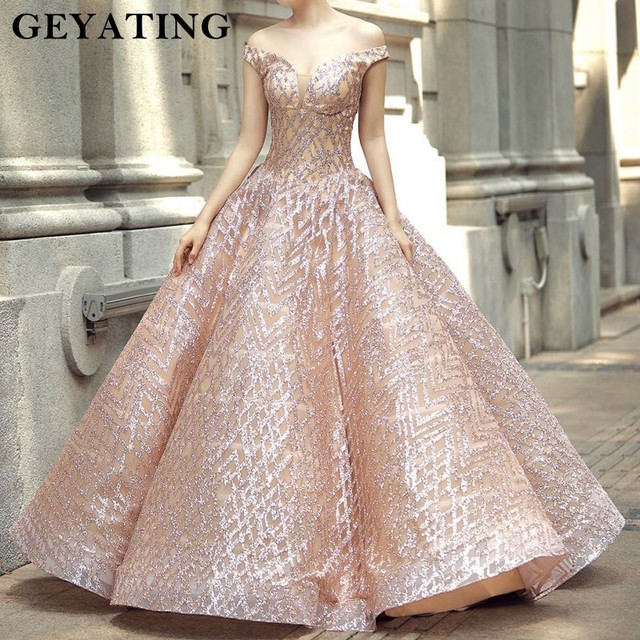 Sparkly Rose Gold Sequined Ball Gown Wedding Dress Princess Off Shoulder Bridal Dresses 2018 Saudi Arabia