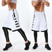 Для мужчин баскетбол комплекты тренажерный зал тренировочные шорты для бега+ колготки для мужчин мужские спортивные Фитнес с карманом на молнии Компрессионные шорты для мужчин