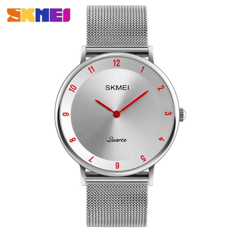 SKMEI Simple Men Quartz Watch Business Watches Ultra Thin Stainless Steel Band Male Wristwatch Man Clock Relogio Masculino 1264
