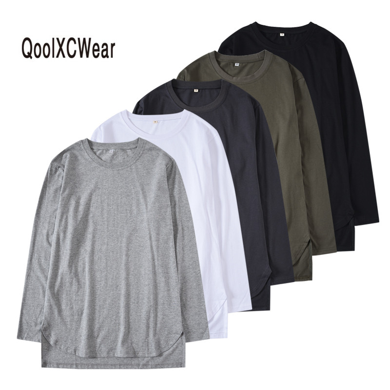 QoolXCWear Kanye bieber Long sleeve T shirt hip hop baggy front short back long curved fall and winter T shirt men women in T Shirts from Men 39 s Clothing