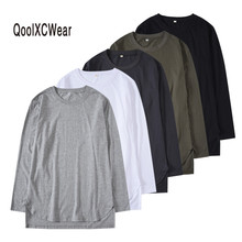 QoolXCWear  Kanye bieber Long sleeve T-shirt hip hop baggy front short back long curved fall and winter men/women