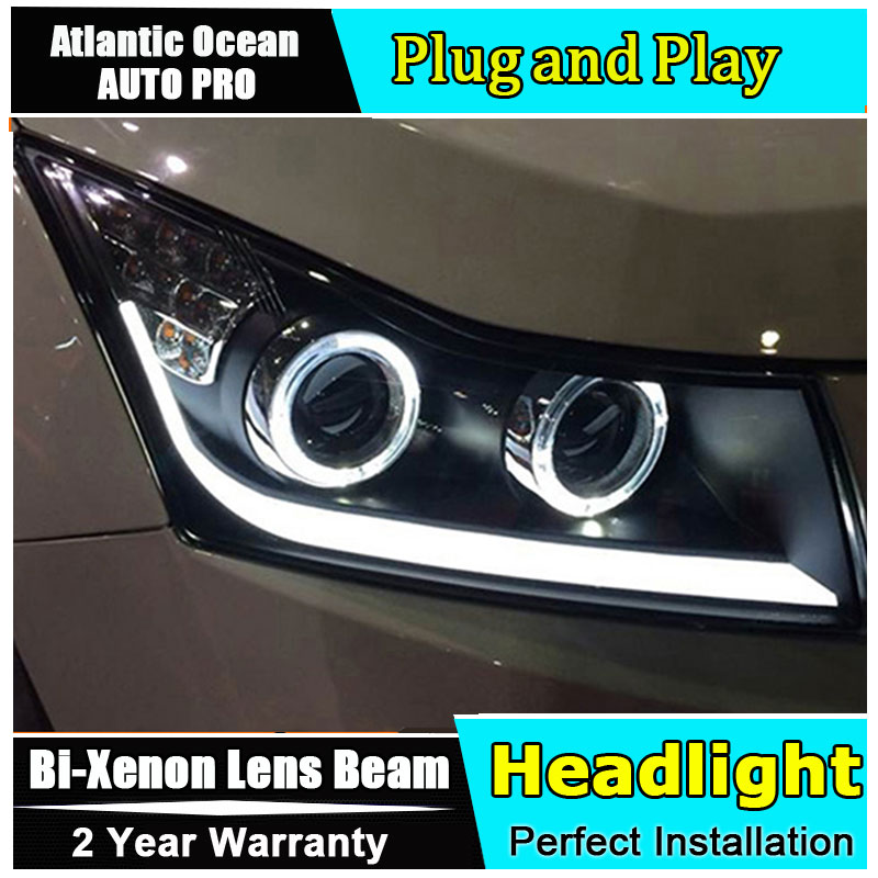 Auto.Pro Car Styling for Cruze Headlights 2009-2014 Cruze LED Headlight DRL Lens Double Beam HID KIT Xenon bi xenon lens hireno headlamp for hodna fit jazz 2014 2015 2016 headlight headlight assembly led drl angel lens double beam hid xenon 2pcs