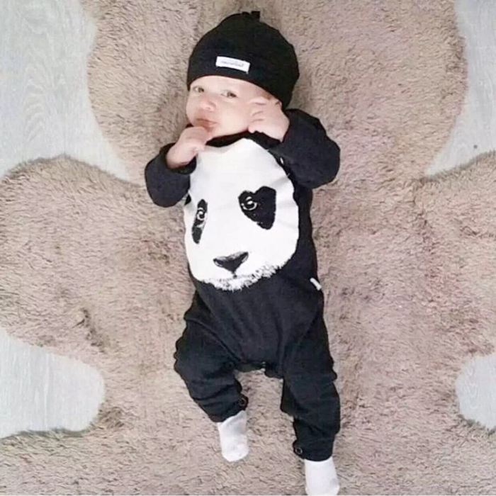 6706cd58a Detail Feedback Questions about New 2018 autumn spring baby boy girl rompers  fashion cotton black long sleeve panda pattern newborn neutral baby clothes  on ...