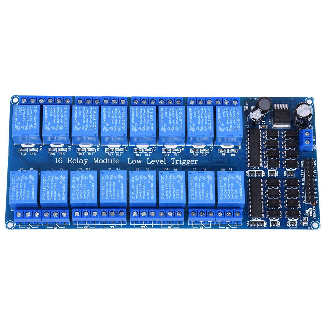 Módulo de placa de relé de 16 canales de 5 V LED optoacoplador para Arduino PiC ARM AVR