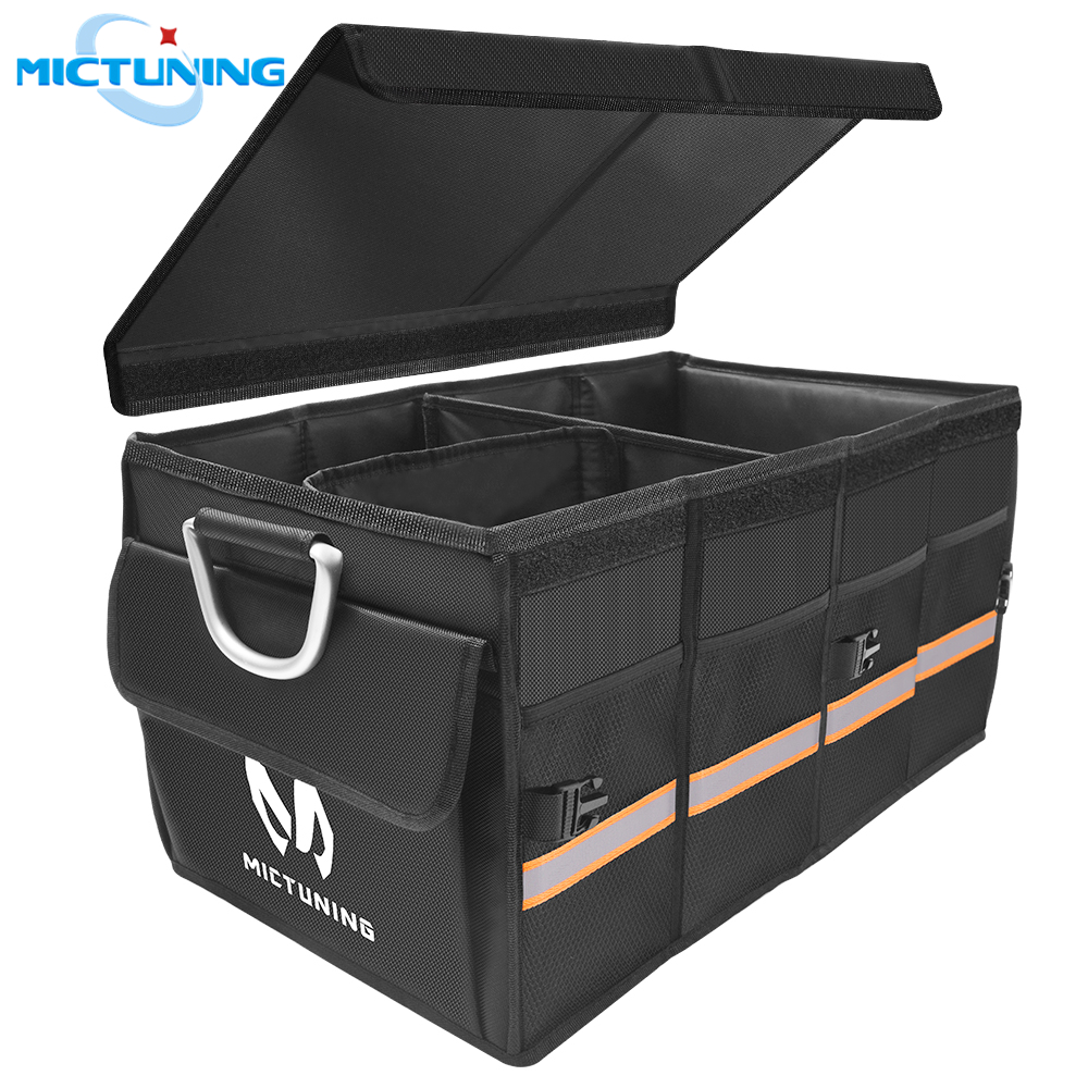 MICTUIGN Heavy Duty Car Trunk Organizer Waterproof Collapsible Portable Cargo Storage Bin Container Carrier for Auto