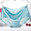 Women Briefs Summer Cool Breathable Lingerie Thin Blue Ice Silk Mid-Rise Panties Double Crotch Invisible Seamless Underwear