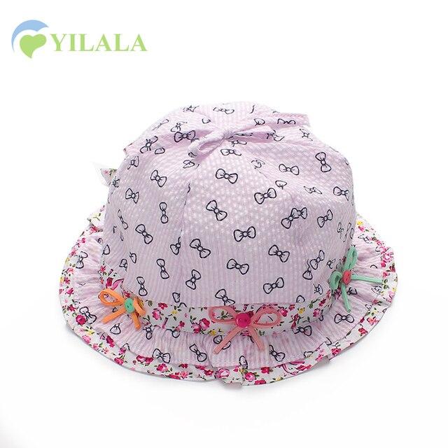 Ikatan simpul Bayi Perempuan Bunga Topi Panama Gadis Matahari Topi Baru  Lahir bayi Musim Panas Topi d385f1ed6d