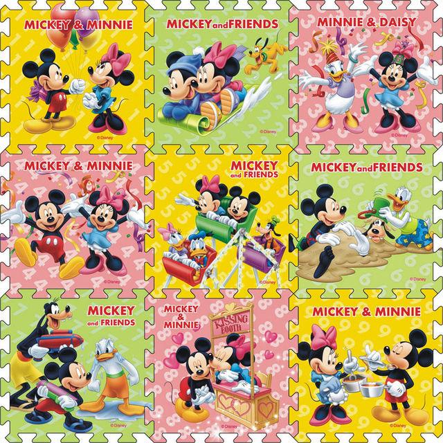 BOHS Piso Telha De Espuma Criança Engatinhando Esteiras De Mickey Mouse Dos Desenhos Animados Do Bebê Jogar, 1 CONJUNTO = 9 PCS = 90*90*1 cm