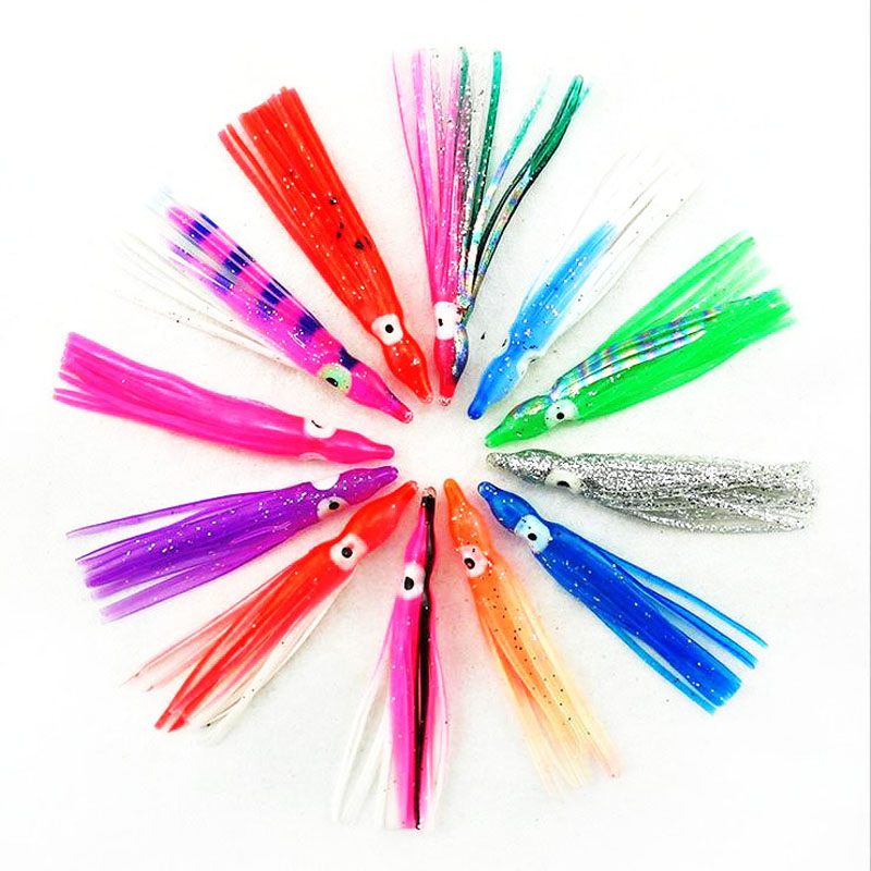 10pcs 6cm Soft Rubber Squid Skirts Bionic bait Fishing Tackle Sea Fishing Octopus bait Threads Skirts Soft Lures Mixed color 8 inch soft skirt bait sea fishing lures game trolling fishing lures resin head with double octopus skirt
