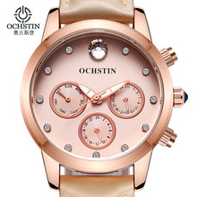OCHSTIN New Design Fashion Ladies Watches Elegant Rhinestone Female Quartz Watch Women Leather Strap Waterproof Montre Femme