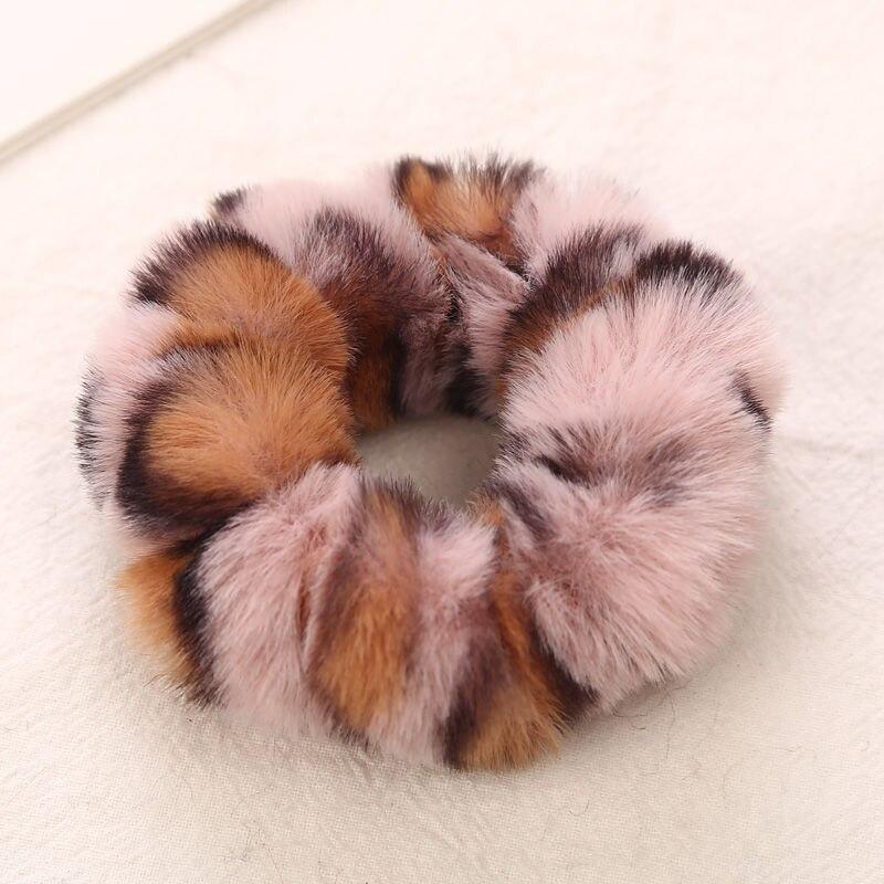 AIKELINA/Новинка; зимняя теплая мягкая резинка для волос из искусственного кроличьего меха для девочек и женщин; аксессуары для волос; Детская резинка; головной убор - Цвет: Pink Khaki