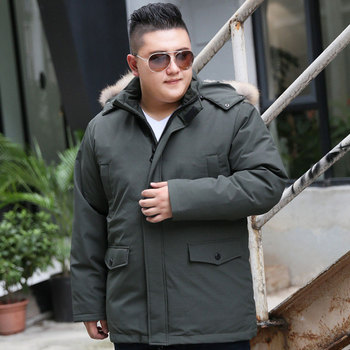 2019 Men's Winter Large Size  8XL 9XL 10XL Large Stand Collar Hooded with Fur Collar Cotton Can Remove Cap Thicken Warm Jacket