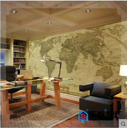 Modern Large Photo Mural English World Map D Murals Wall Covering - Floor to ceiling world map