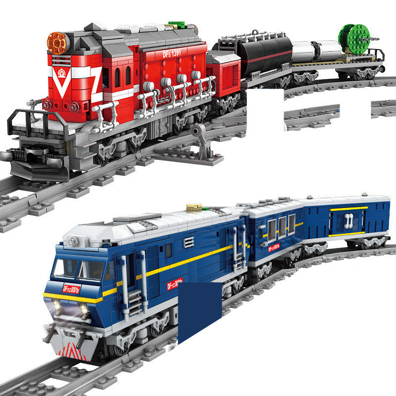 City Power Driven Diesel Rail Train Cargo With Track Sets Building Blocks Sets Technic DIY Bricks