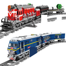 City Power-Driven Diesel Rail Train Cargo With Track Sets Building Blocks Sets Technic DIY Bricks Educational Toys for Children lepin new city 02118 the cargo rc train set compatible 60198 remote control power train with rails building blocks bricks toys
