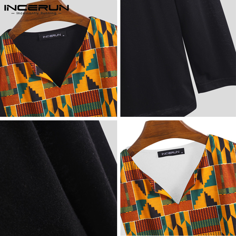 Abetteric Men African Style Button Mid Long Stand Collar Printed Top Tshirt Shirt