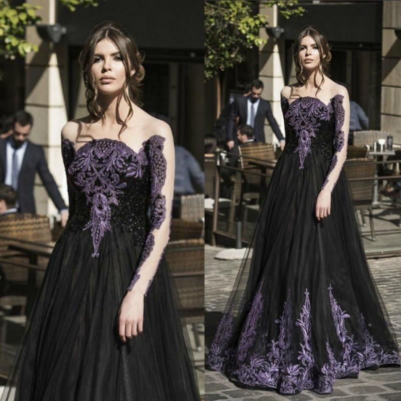 Discount Gothic 2017 New Black Long Sleeve Wedding Dresses: Popular Gothic Prom Dress-Buy Cheap Gothic Prom Dress Lots