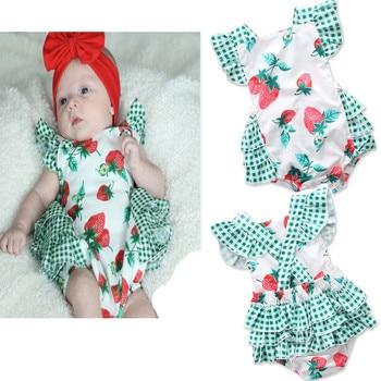 Newborn kids Girls Printed Strawberry Rompers Babies Plaid Jumpsuits Bebe Sleeveless Ruffles Romper 2018 Kids Clothing
