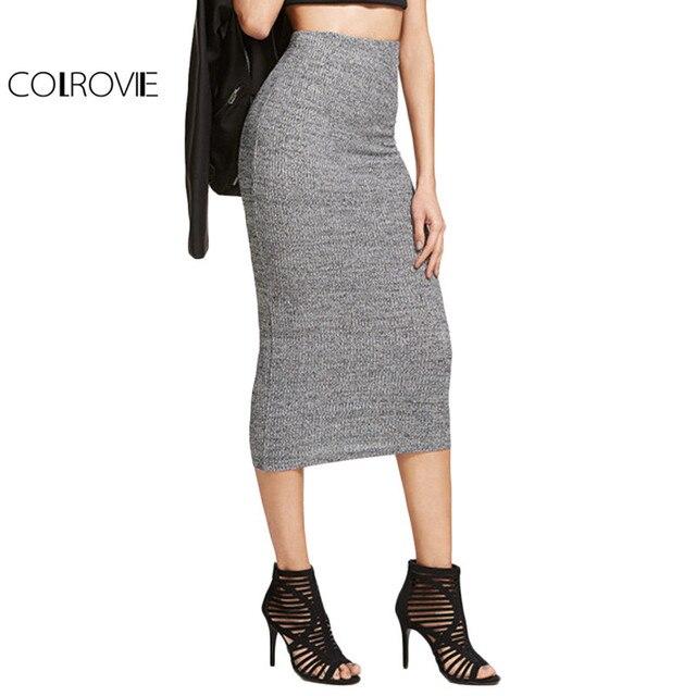 945a32b743b5 COLROVIE Brief Knit Pencil Skirt Women Heather Grey Elegant Slim Ribbed Midi  Skirts Spring Fashion High Waist Office Skirt