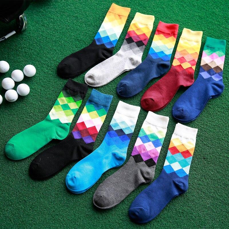 Casual Mens Cotton Colorful Happy Socks Harajuku Gradient Color Business Dress Socks Diamond Plaid Long Socks calcetines