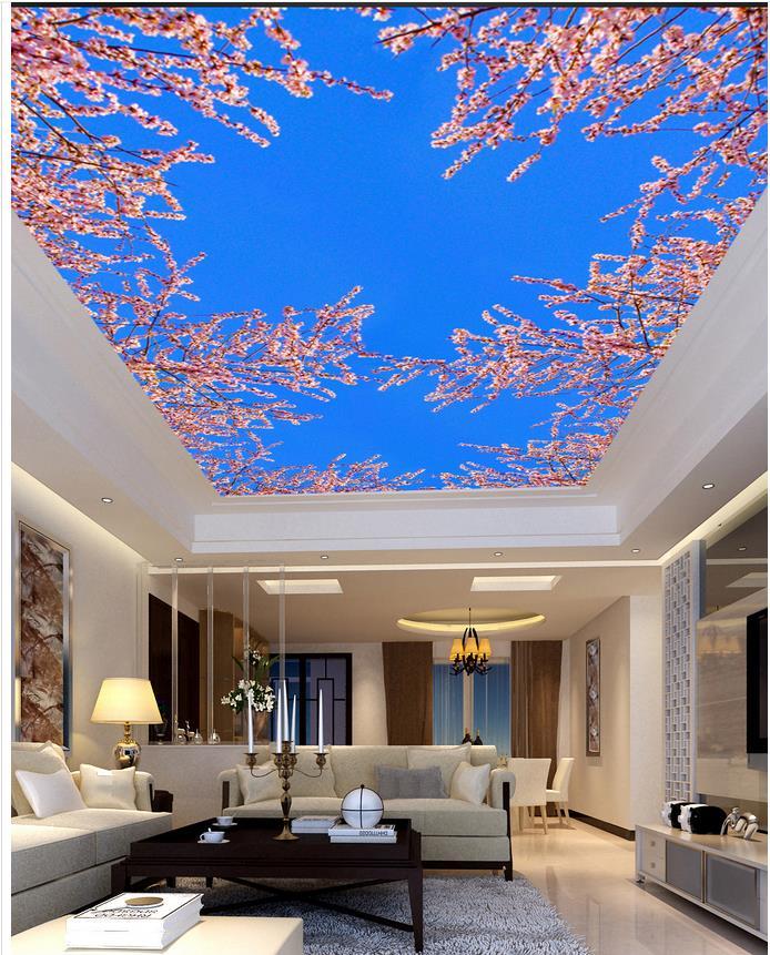 Flowers blue sky ceiling 3d wallpaper Eurpean minimalist ...