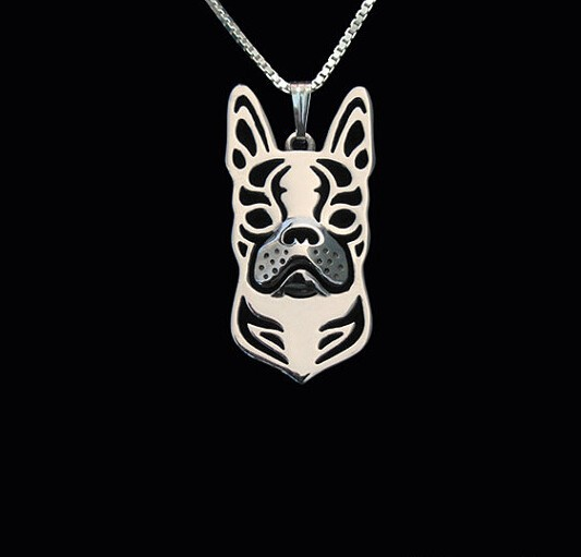 Hot Sale 10pcs Boho Chic Alloy Boston Terrier necklace fashion cartoon dog pendant Silver gold two colors plated