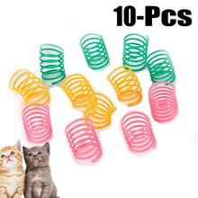 10Pcs Pet Accessories Set Cute Cat Spring Toys Wide Durable Heavy Gauge Plastic Colorful Springs Toy Playing For Kitten