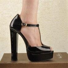 Onlymaker נשים של T קשור קרסול רצועת פיפ הבוהן פלטפורמת Chuncky שחור 15 ~ 16 CM עקב גבוה סנדלי מסיבת שמלת נעליים יומיומיות
