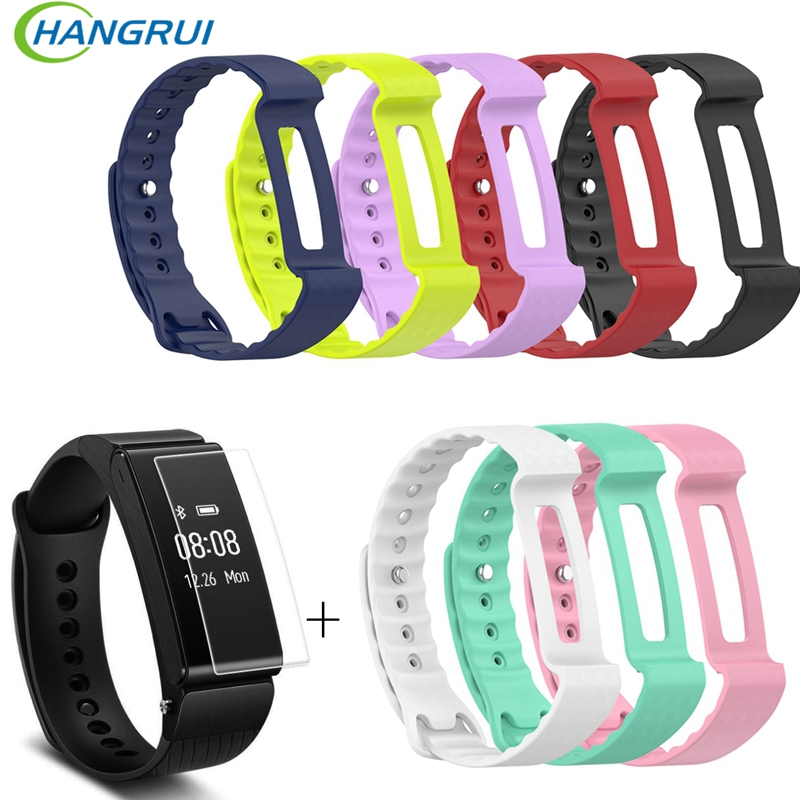 Hangrui Soft Silicone Replacement Bracelet Band Wrist Strap For Huawei Honor A2 Smart Watch Band Strap With Screen Protector