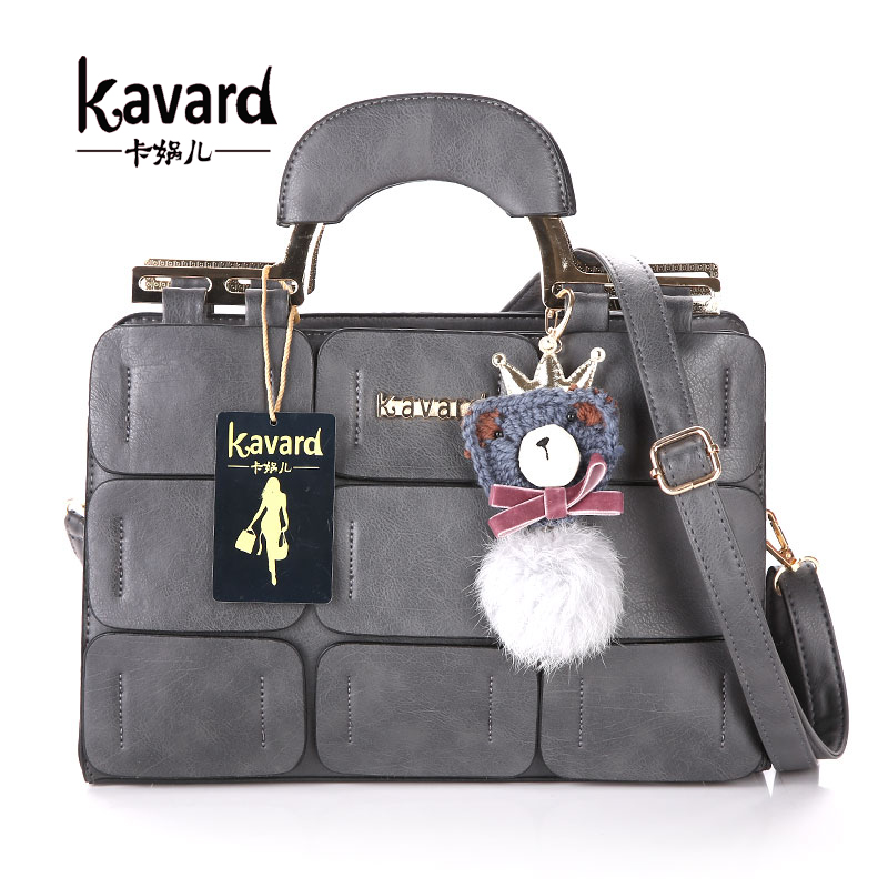 Kavard Brand Vintage Women Bag Suture Boston Bag Thread Ladies Handbag Messenger Bags Sac a Main Femme De Marque Luxe Cuir 2016 hongu genuine leather shoulder messenger bags for women pillow shape sac a main femme de marque luxe cuir 2017 black pink online