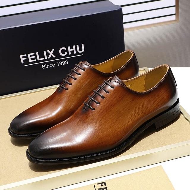 b40cfc88d63 Luxury Brand Designer Genuine Leather Mens Wholecut Oxford Shoes For Men  Black Brown Dress Shoes Business
