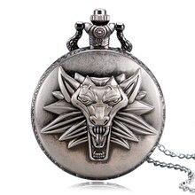 Grey The Witcher 3 Wild Hunt Theme Lion Case Bronze Fob Quartz Pocket Watches for Men Boys Game Gift Item Saat Reloj Hombre 2017