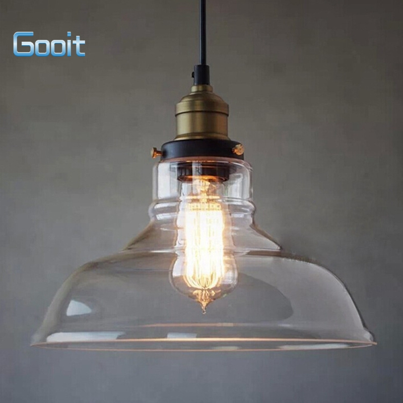 Vintage Industrial Glass Pendant Light: E27 28CM Vintage Industrial Ceiling Lamp Shade Glass