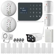 YoBang Security Wireless WIFI GSM Burglar Alarm System Home Protection Automated Outdoor Waterphoof IP Camera+Smoke Alarm 433MHZ