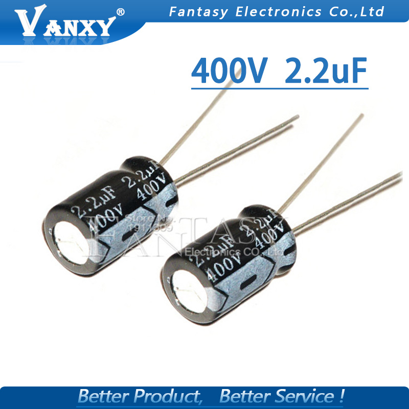 20PCS Higt Quality 400V2.2UF 8*12mm 2.2UF 400V 8*12 Electrolytic Capacitor